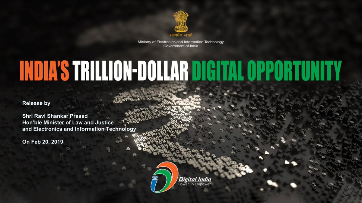 1/ Presenting to you the key findings of  the report on 'India's Trillion Dollar Digital Opportunity', being released by Union Minister @rsprasad, at #NASSCOM_TLF in Mumbai today #TrillionDollarDigitalEconomy