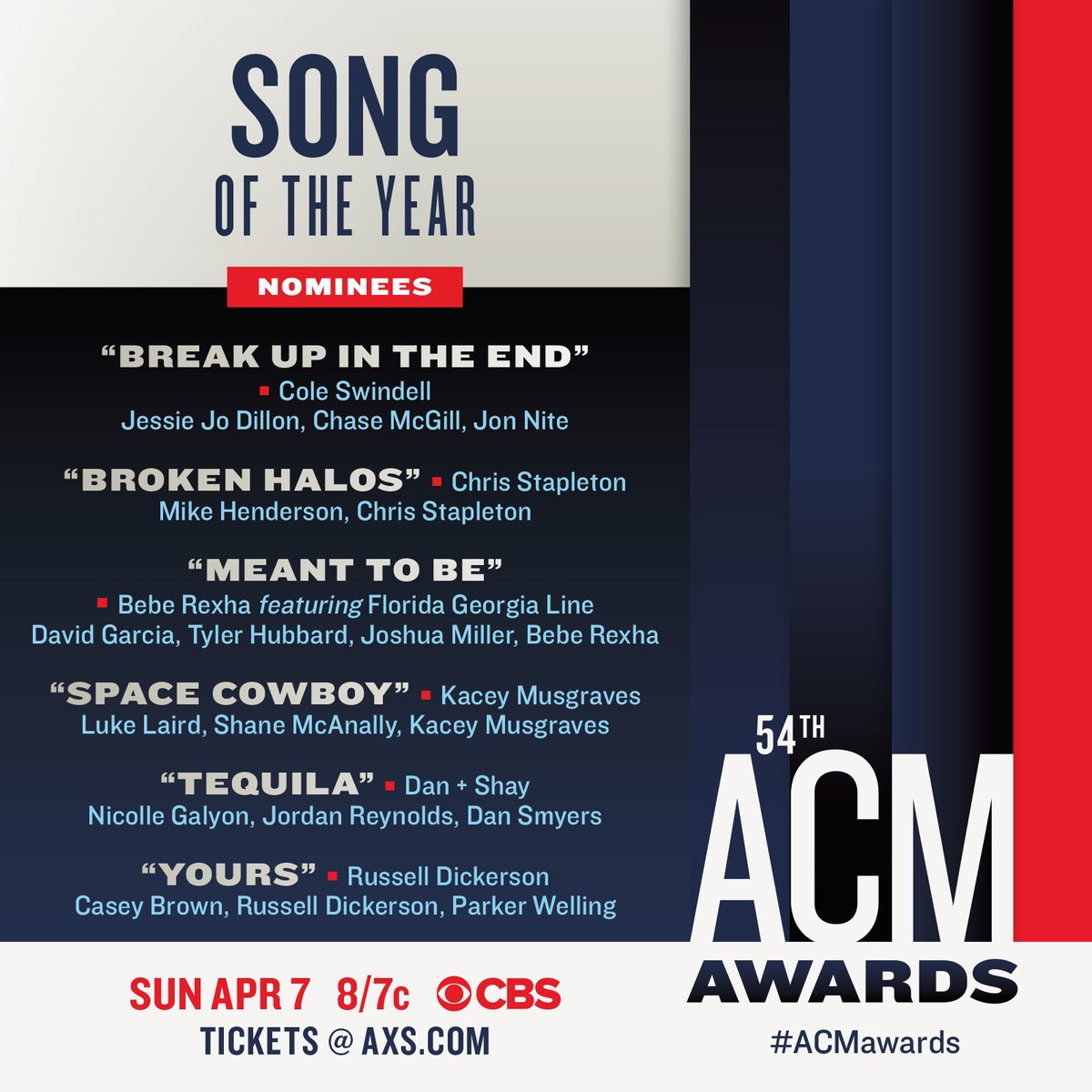 So it begins! Nominations for the 54th annual #ACMawards are in and first up are our  Song of the Year nominees , ,  ft. ,@coleswindell ,@ChrisStapleton ,@BebeRexha and @FLAGALine! @KaceyMusgraves🎶✨@DanAndShay🏆 @russelled