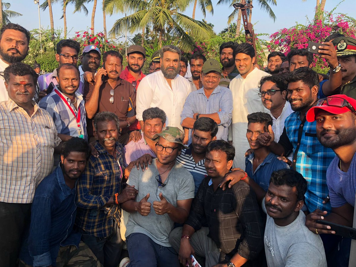 #Kaappaan -It is a wrap for @Mohanlal Sir. Great actor... simply behaved the character seemly.