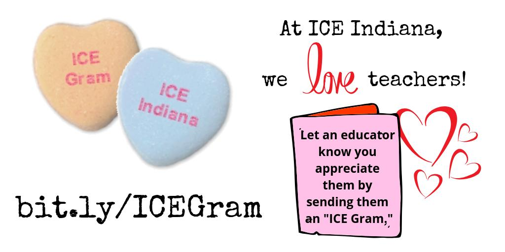 We've sent so many ICE-Grams this month! Don't miss your opportunity to make an educator's day! It only takes a minute:  http:// bit.ly/ICEGram  &nbsp;    #INelearn #ICEIndiana <br>http://pic.twitter.com/l5Mn72uKih