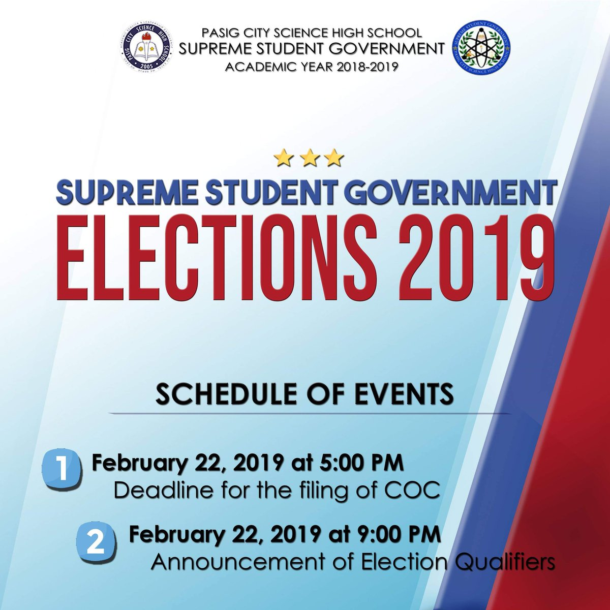 The doors are now open for the next set of student leaders that will serve the student body! Be part of the Supreme Student Government for the upcoming academic year 2019-2020. Check the attached link for the Election Guidelines and Requirements. https://drive.google.com/folderview?id=1-07YDKmB8FI3xB6jKjyVh75c6tEeK4ff …