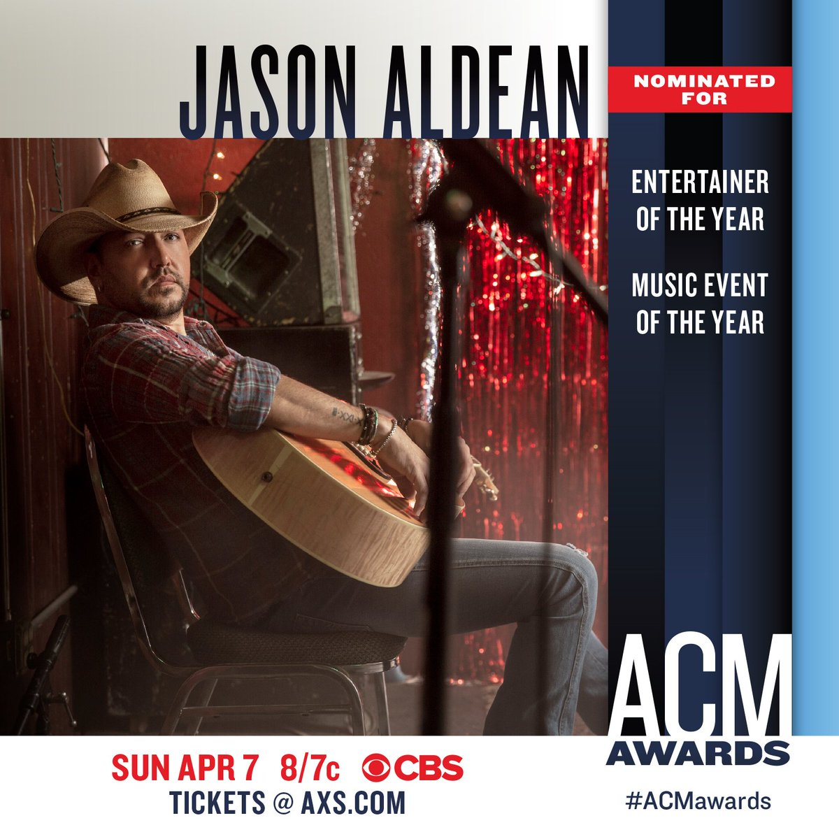 Jason is nominated for Entertainer of the Year & Music Event of the Year at the 2019 @ACMawards! Tune in to see who wins April 7th on CBS.  #ACMawards