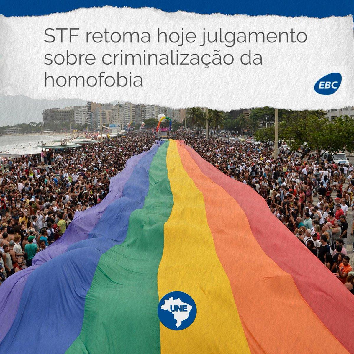 O Supremo Tribunal Federal (STF) retoma hoje (20), a partir das 14h, julgamento sobre criminalização da homofobia. O Brasil é o país que mais mata LGBTs no mundo. É hora de garantir a liberdade e a vida.  Parem de nos matar!  #CriminalizaSTF