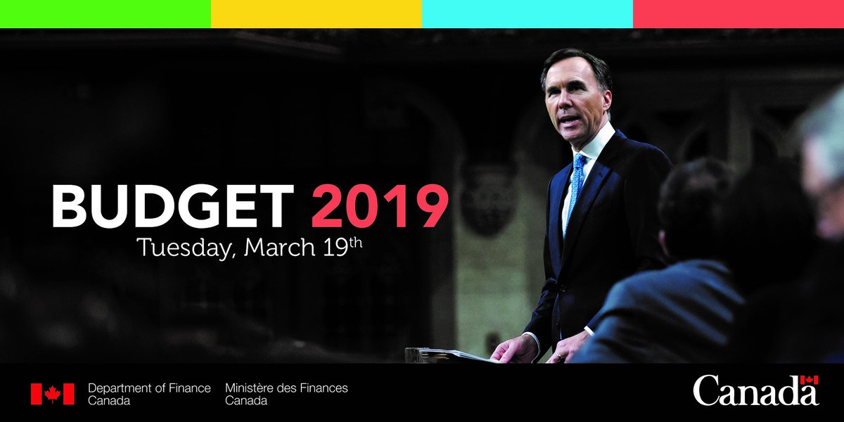 Minister Morneau announced in the House of Commons that the Government will table its federal budget on March 19, 2019. http://ow.ly/f5an30nM2p8