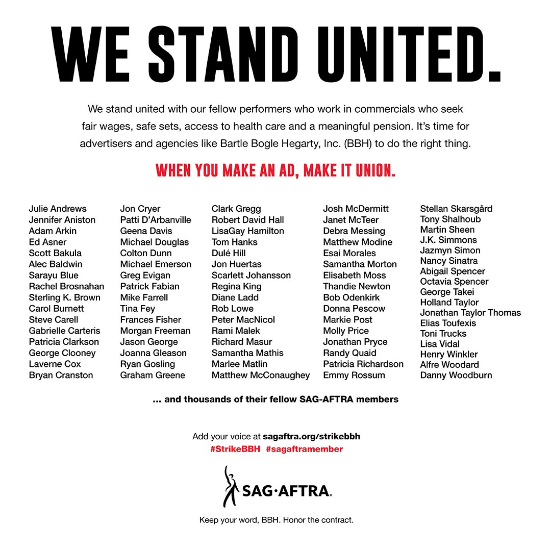 Today's @WSJ says it all: Ryan Gosling, Tom Hanks (@tomhanks), Tina Fey, Rami Malek (@ItsRamiMalek) & thousands of other #sagaftramembers believe in fair wages, safe sets & access to health care. Sign the statement of support at http://sagaftra.org/strikebbh. #StrikeBBH #AdsGoUnion