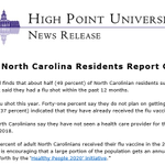 #hpupoll reports on flu vaccines while interviewers work on HPU Poll 64.  49% of NC residents say they have had a vaccine in last 12 months.  37% say they have already had one this flu season.  Memo see page 4 https://t.co/fmPIcBeAoL Snipped release attached.
