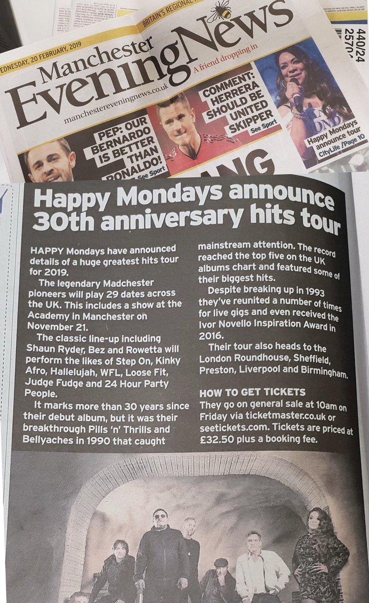 Tonight's Manchester Evening News #HappyMondays @Happy_Mondays @MENnewsdesk