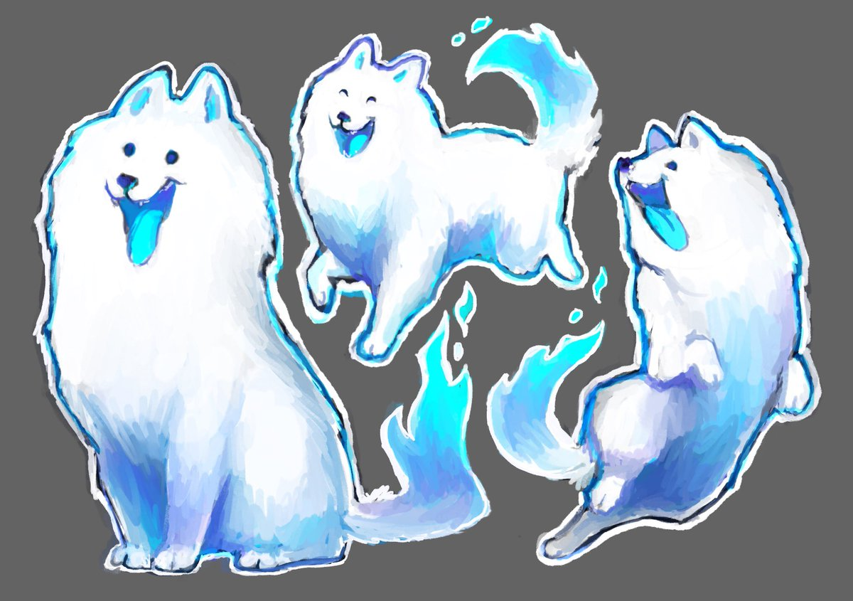 Katja has only appeared in two panels so far, but that's enough for me to be able to doodle her. A ghost Samoyed is still an extremely happy Samoyed. <br>http://pic.twitter.com/fizHqdEr4c