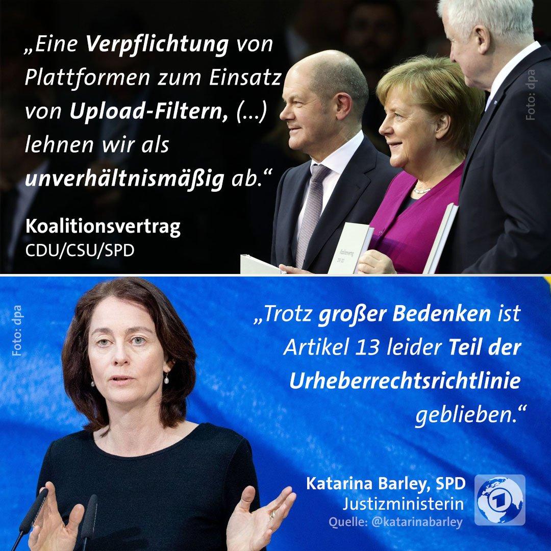 EU-Staaten nehmen Urheberrechts-Reform an: Aus Teilnehmerkreisen hieß es, die Bundesregierung habe zugestimmt - aber Vorbehalte geäußert. Justizministerin Barley twitterte, sie habe sich 'regierungsintern' für eine Streichung eingesetzt.  #Artikel13