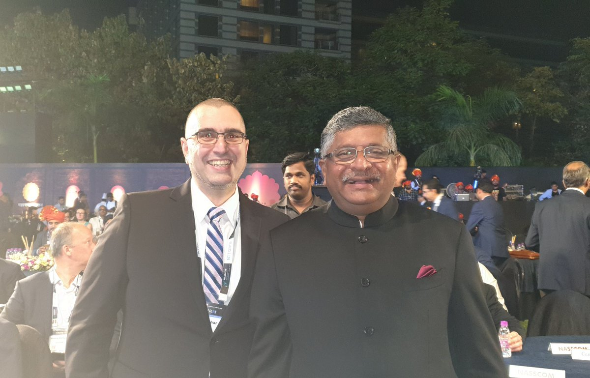 Two great leaders together... our respected Minister of IT @rsprasad with the amazing @ValaAfshar #NASSCOM_TLF