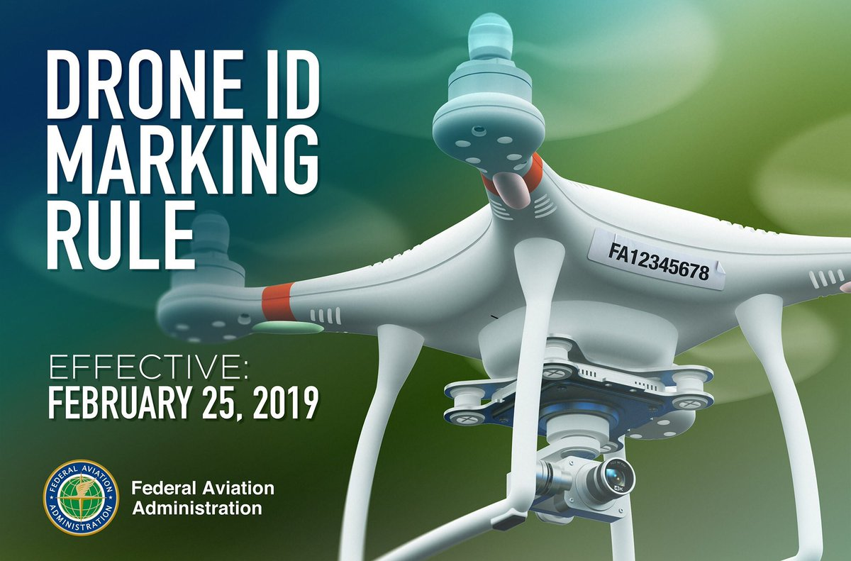 Important message for drone pilots! There are 5 days left⏳for you to mark the outside of your #drone with your #FAA-issued registration number in order to comply with our new rule. Learn more at https://t.co/V2mzvyKz2F. #FlySafe  #MarkYourDrone