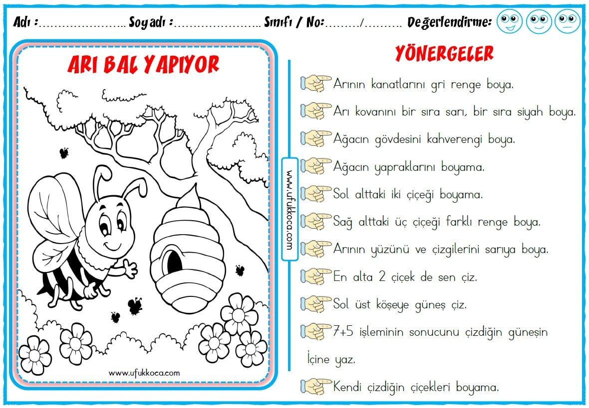 1 Sınıf Eş Anlamlı Kelimeler Boyama üst Ev Boyama Sayfası