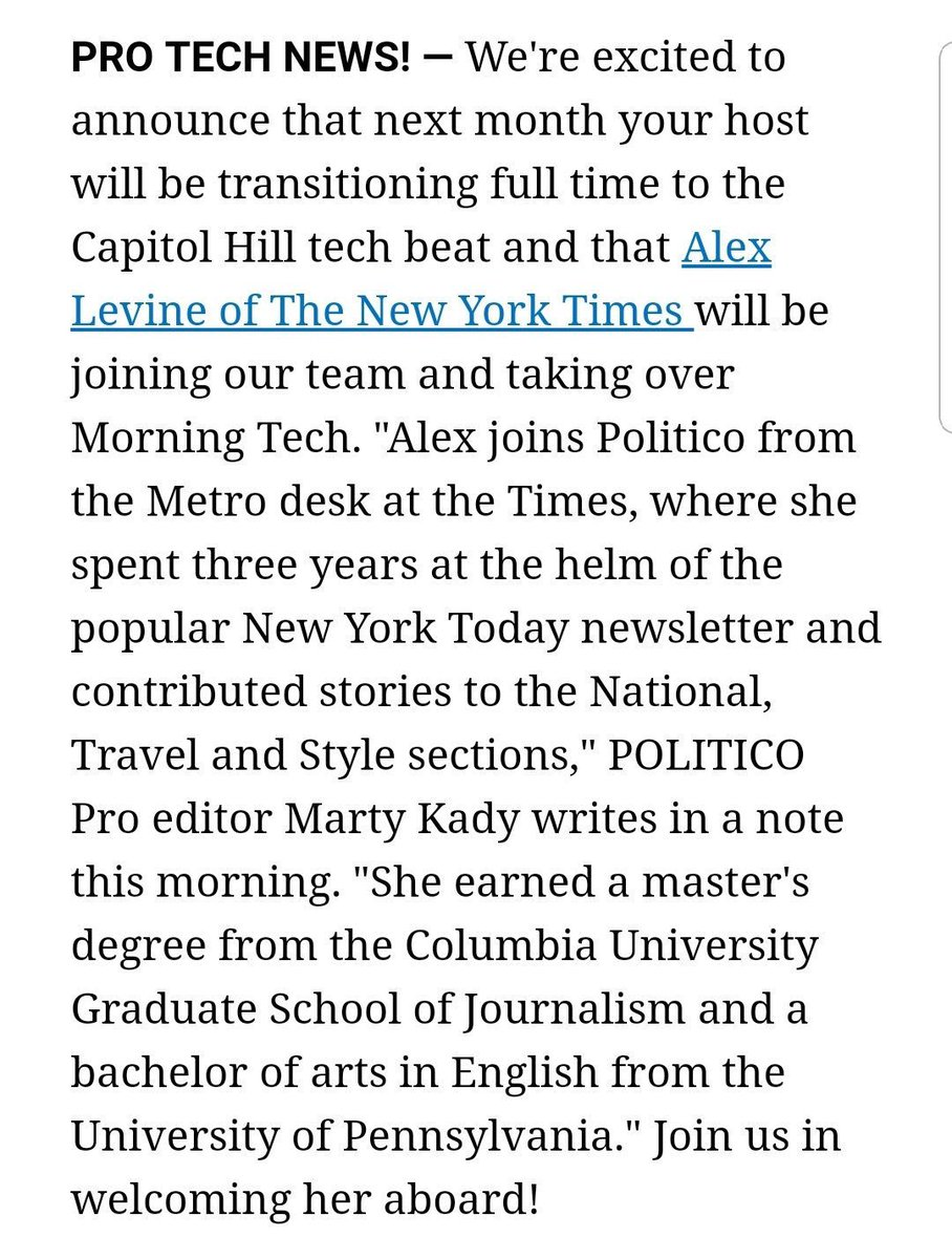 🚨Some personal news🚨  After 3+ years at @nytimes, I'm thrilled to be heading to DC to cover technology for @POLITICO!  I'll be taking over @MorningTech for @POLITICOPro soon, so reach out with tips and ideas, or just to say hi.