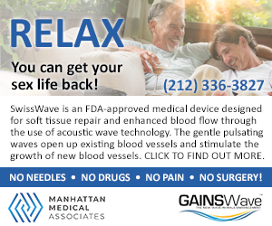 Looking to revitalize your sex life? Manhattan Medical Associates can help!    The NON-INVASIVE, DRUG-FREE, NEEDLE-FREE, PAIN-FREE cutting-edge treatment for Erectile Dysfunction (ED). Call 212-336-3827 or visit https://manhattanmedicalassociates.com  #sponsored