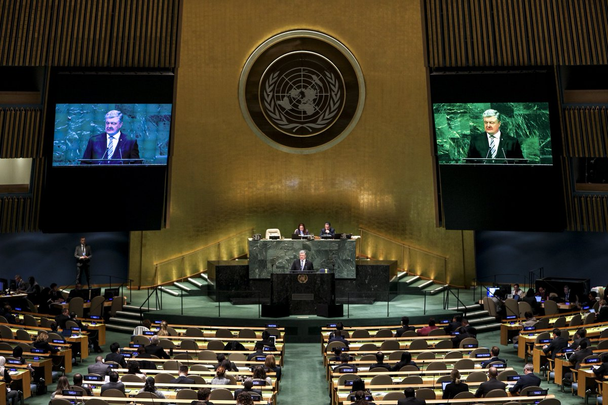 We also need to double down seeking the release of over 70 Ukrainian hostages held in Russia and in Crimea, and the exchange of detainees envisages by the Minsk arrangements.  #UNGA <br>http://pic.twitter.com/5suCJErtQZ