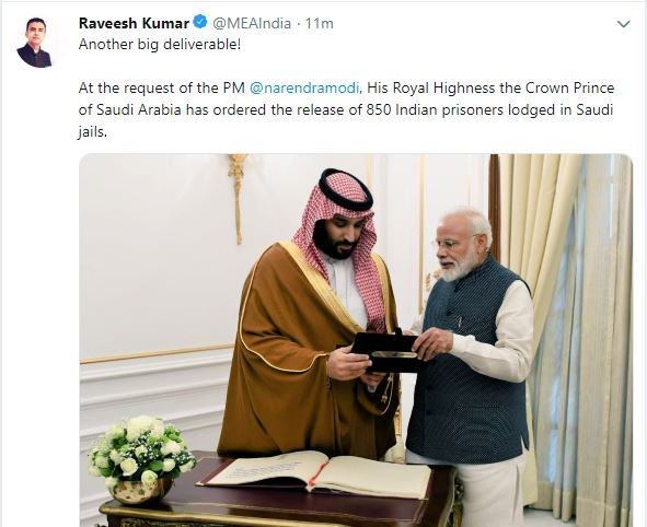 JUST IN: At the request of PM @narendramodi, His Royal Highness the Crown Prince of Saudi Arabia Mohammed bin Salman has ordered the release of 850 Indian prisoners lodged in Saudi jails: @MEAIndia tweets.