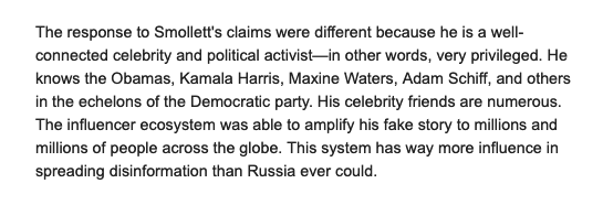 .@tina_nguyen at @VanityFair interviewed @benshapiro, myself + others about why we're angry at the alleged Smollett hoax. Only part of my quote was used. Here is what I said in full when asked why Smollett's story was amplified much more than others: https://www.vanityfair.com/news/2019/02/why-the-right-wing-media-is-so-furious-about-the-jussie-smollett-affair …