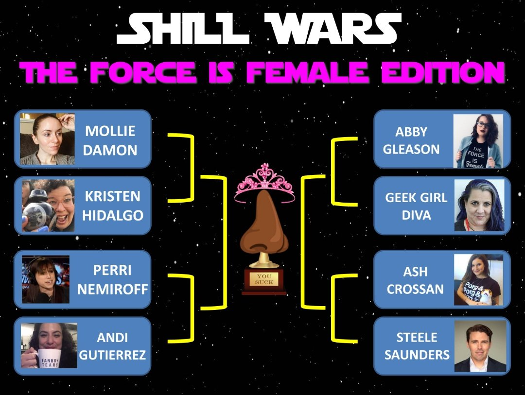 """The """"Shill Wars: The Force is Female"""" line-up is complete. By popular demand, I've included Abby Gleason and Ash Crossan.   Who's excited for the first match-up later on? Get ready, manbabies..."""