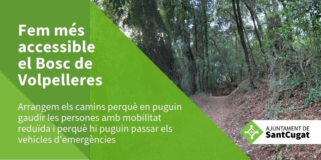 Comencem l'arranjament del Bosc de Volpelleres #SantCugat. Eixamplarem i condicionarem els camins perquè siguin accessibles per a tothom i per poder garantir millor la seva preservació. Més info del projecte a https://t.co/vGHCezMa3Z