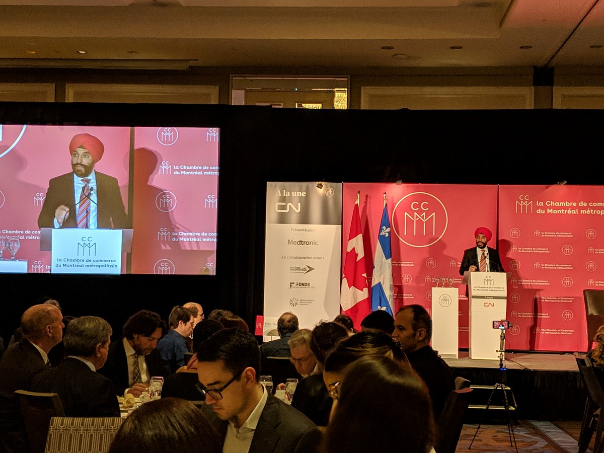 Nous sommes présents à la @chambremontreal pour l'allocution du ministre @NavdeepSBains au sujet de la mise en place d'un écosystème d'#innovation // We are at the @chambremontreal for the speech of Minister @NavdeepSBains on the establishment of an #innovation ecosystem