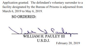 NEW: Judge Pauley has granted a request by Michael Cohen to report to prison on May 6, postponing his previously scheduled date of March 6, per new court filing.
