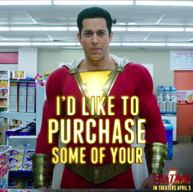 Actual footage of me purchasing my first beer. #SHAZAM! - In theaters April 5. https://t.co/xBgQEsHkKl