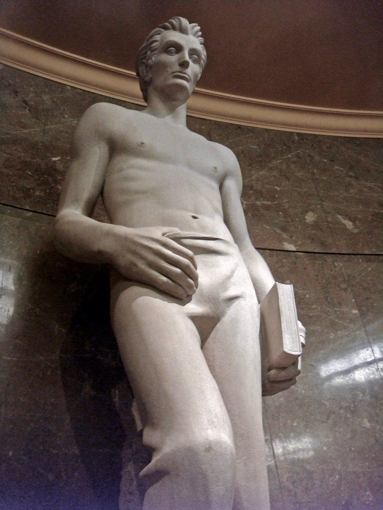 Reminder that the Los Angeles federal courthouse has a statue of Abraham Lincoln where he's a shirtless young stud suggestively tugging at his waistband like a Sports Illustrated swimsuit model: