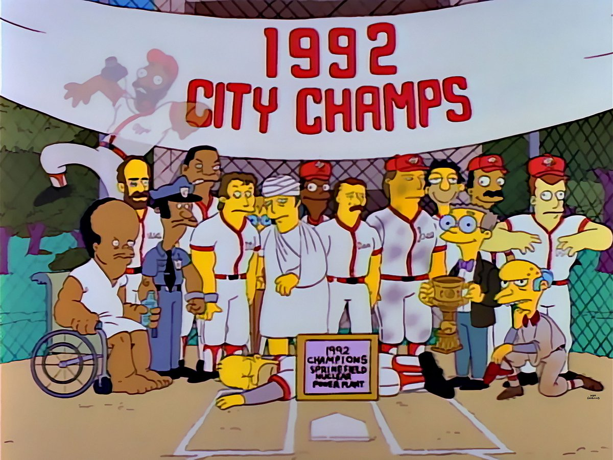 27 years ago today, Homer Simpson & a group of @MLB All-Stars led the Springfield Power Plant softball team to a championship.   https://t.co/4P1veX389y