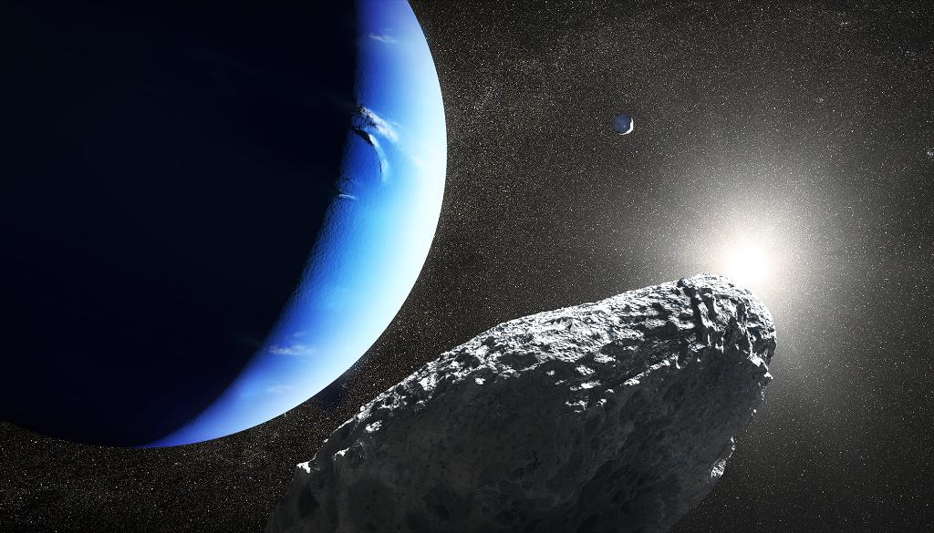 This is an artist's concept of Neptune's tiny moon Hippocamp. Only 20 miles across, it may actually be a broken-off fragment from a much larger neighboring moon, Proteus! Read the full story:  https://t.co/OvX2MvjYzD