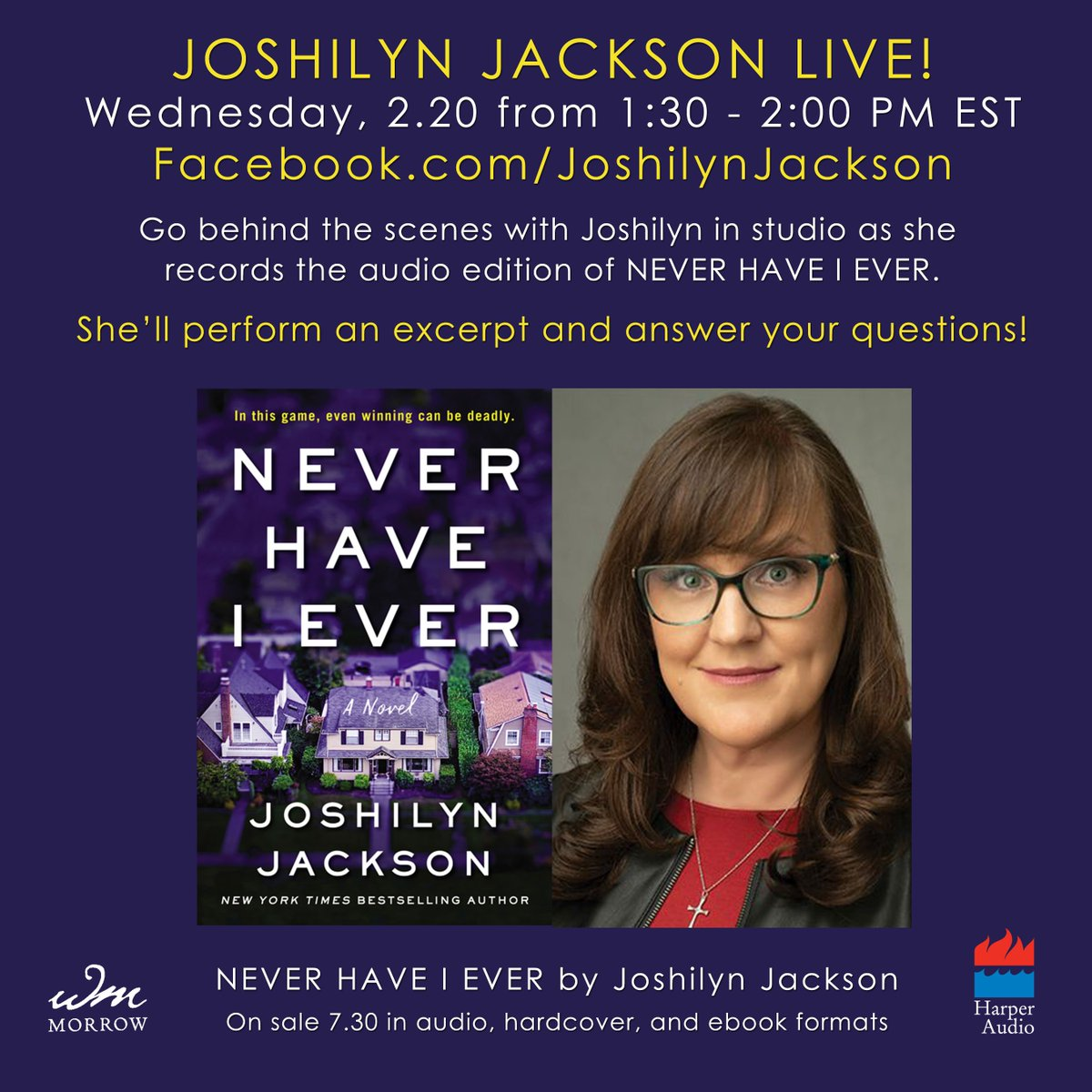 Less than 30 minutes until we are LIVE IN STUDIO WITH @JoshilynJackson over on https://www.facebook.com/JoshilynJackson!!!! @WmMorrowBooks @HarperCollins