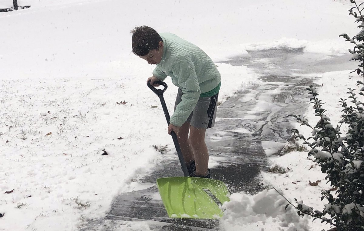 I stopped trying to understand teenagers. Proud my son volunteered to shovel our walkway. But, shorts?! Really? #why #winterstorm <br>http://pic.twitter.com/mudOHsyZcj
