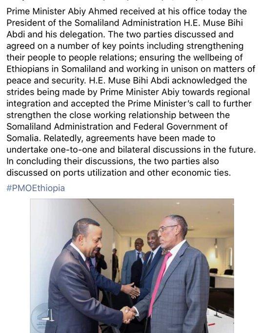 Statement-Ethiopia's PM Abiy Ahmed met with Somaliland administration president Muse Bihi Abdi. #Addis #Mogadishu #Hargeisa