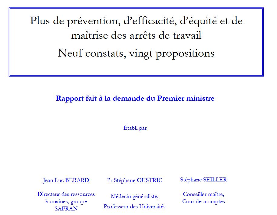 Vignette document Plus de prévention, d'efficacité, d'équité et de maîtrise des arrêts de travail. Neuf constats, vingt propositions. Rapport fait à la demande du Premier ministre