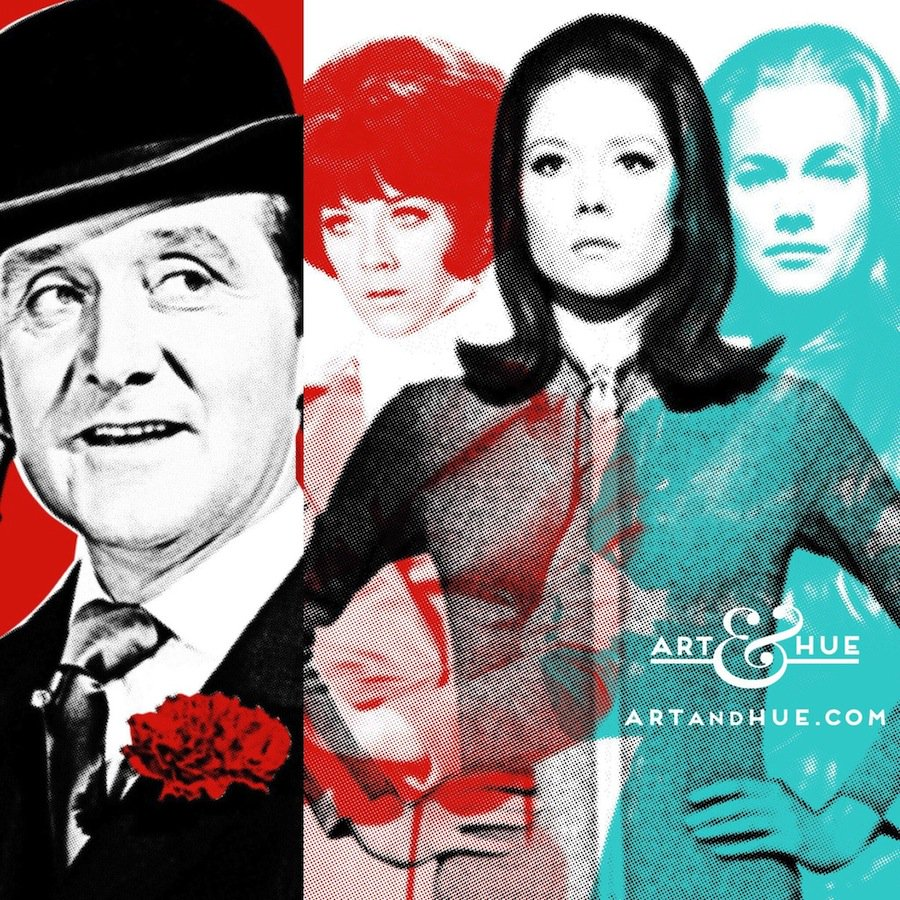 Always keep your bowler on in times of stress & watch out for diabolical masterminds. #WednesdayWisdom   http://artandhue.com/theavengers   #DianaRigg #EmmaPeel #JohnSteed #HonorBlackman #WomanCrushWednesday #TheAvengers #LindaThorson #MrsPeel #PatrickMacnee #WCW