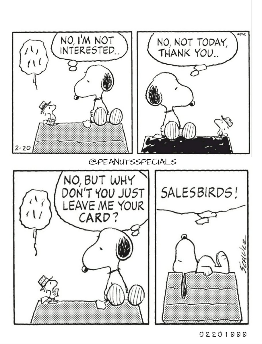 First Appearance: February 20, 1999 #peanutsspecials #ps #pnts #schulz #snoopy #woodstock #interested #no #not #today #thankyou #leave #card #salesbirds www.peanutsspecials.com
