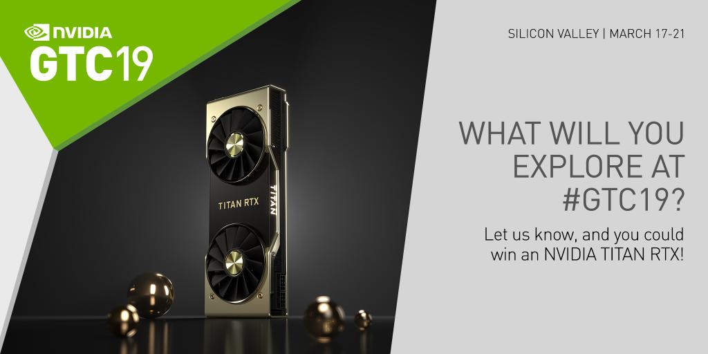 test Twitter Media - The GPU Technology Conference in Silicon Valley is coming up. Tweet the event topic inspiring you, and why, with #deeplearning #GTC19 @NVIDIA for a chance to win an NVIDIA TITAN RTX! Enter this contest here: https://t.co/faIYe6NLvV https://t.co/9hxtZE8WJX