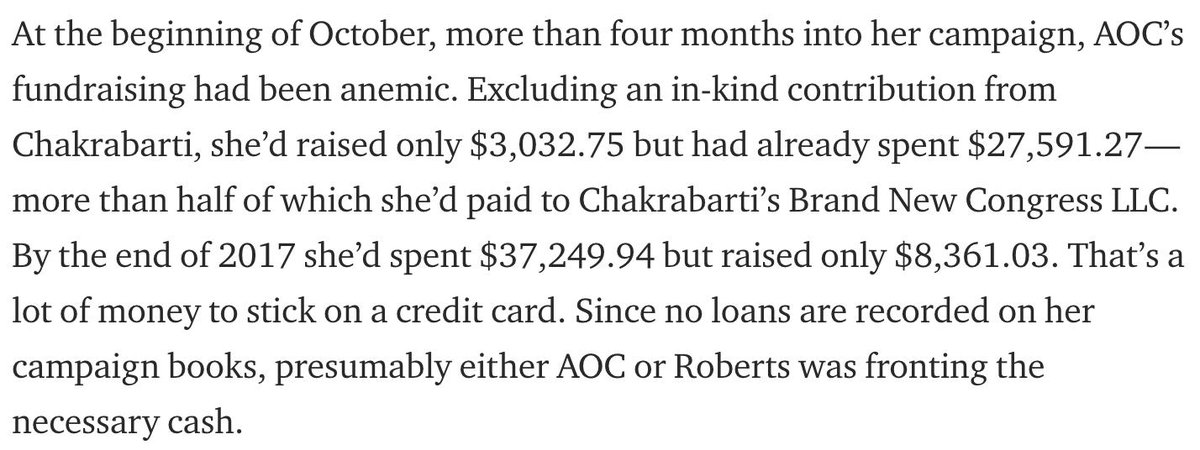 """AOC raised $39,023 through the end of Sept. 2017. She spent $30,940 over the same time period. She had $8,082 cash on hand entering Oct. 2017. She reported a $700 debt to Brand New Congress LLC. See here: http://docquery.fec.gov/cgi-bin/forms/C00639591/1220165/… The """"facts"""" in the below text are all wrong."""