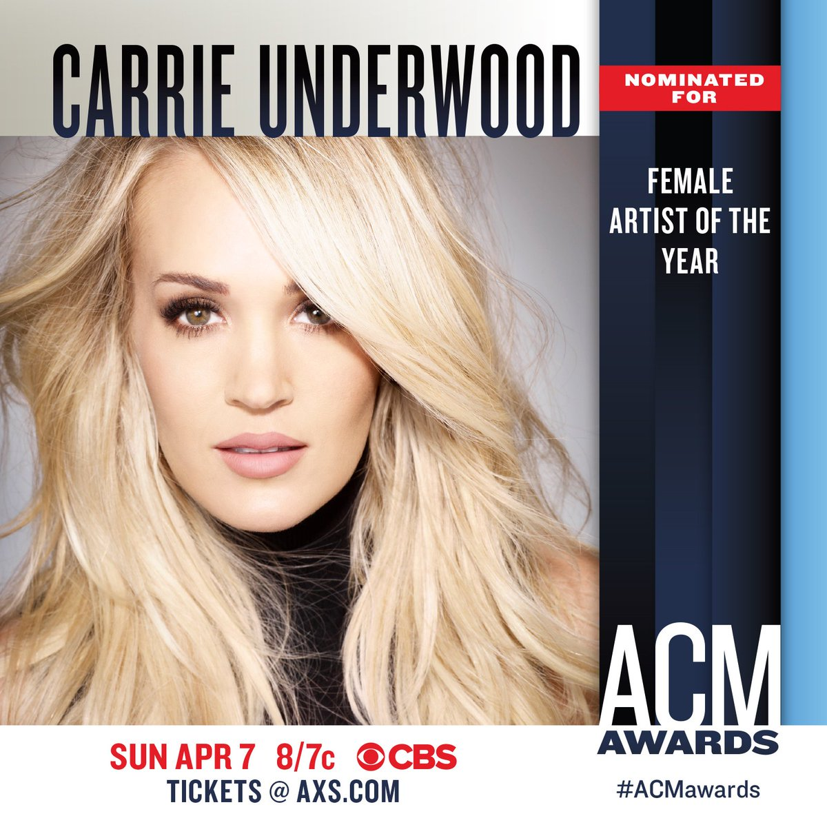 Congratulations, Carrie on your 2019 @ACMawards nomination! #FemaleArtistOfTheYear -TeamCU