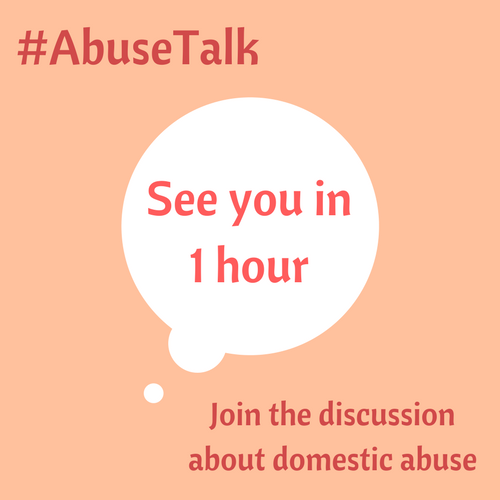 8-9pm GMT/12-1pm PST/3-4pm EST  In one hour this weeks #AbuseTalk will begin and the theme of this weeks discussion will be released.   To join in all you have to do is follow the # and any response or tweet you make place the #AbuseTalk with it.  RT and TAG others interested.