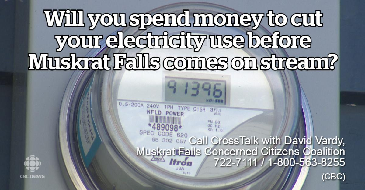 Will you invest to reduce your consumption of electricity before Muskrat Falls power comes on stream? Call @RamonaDearing and David Vardy of the Muskrat Falls Concerned Citizens Committee at 722-7111 / 1-800-563-8255.