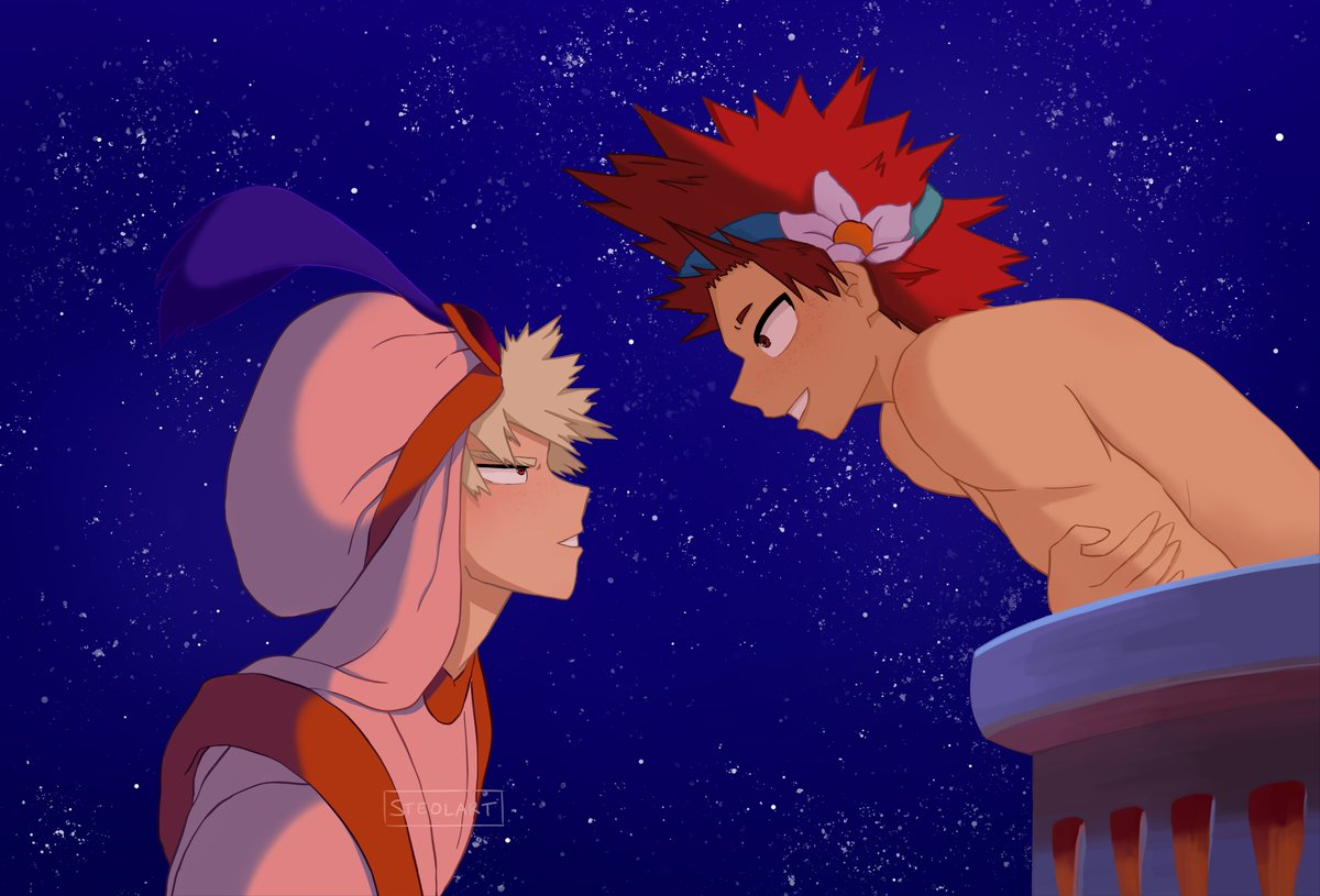 """Let me share this whole new world with you..""  Krbk Aladdin AU I really wanted to redraw a screencap from a Disney movie so here it is, hope you like it ! #kiribaku #bakushima<br>http://pic.twitter.com/By9TAwLGKT"