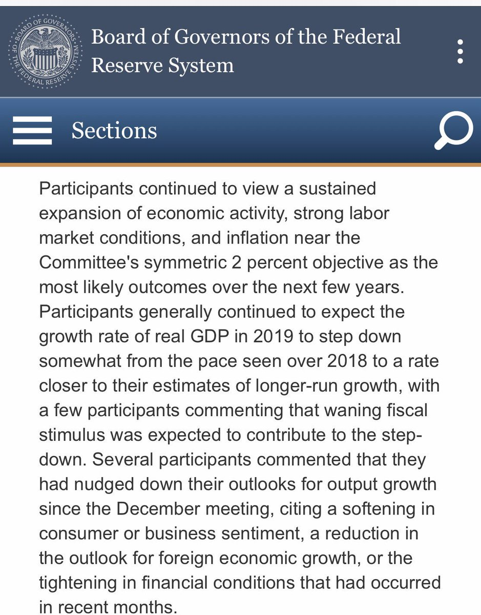 Some of the key passages from the Fed minutes.  My initial takeaway: of the 4 main reasons that could have contributed to the January policy U turn—see my earlier @BV post on this —weakening external conditions and concerns about market instability played an important role.