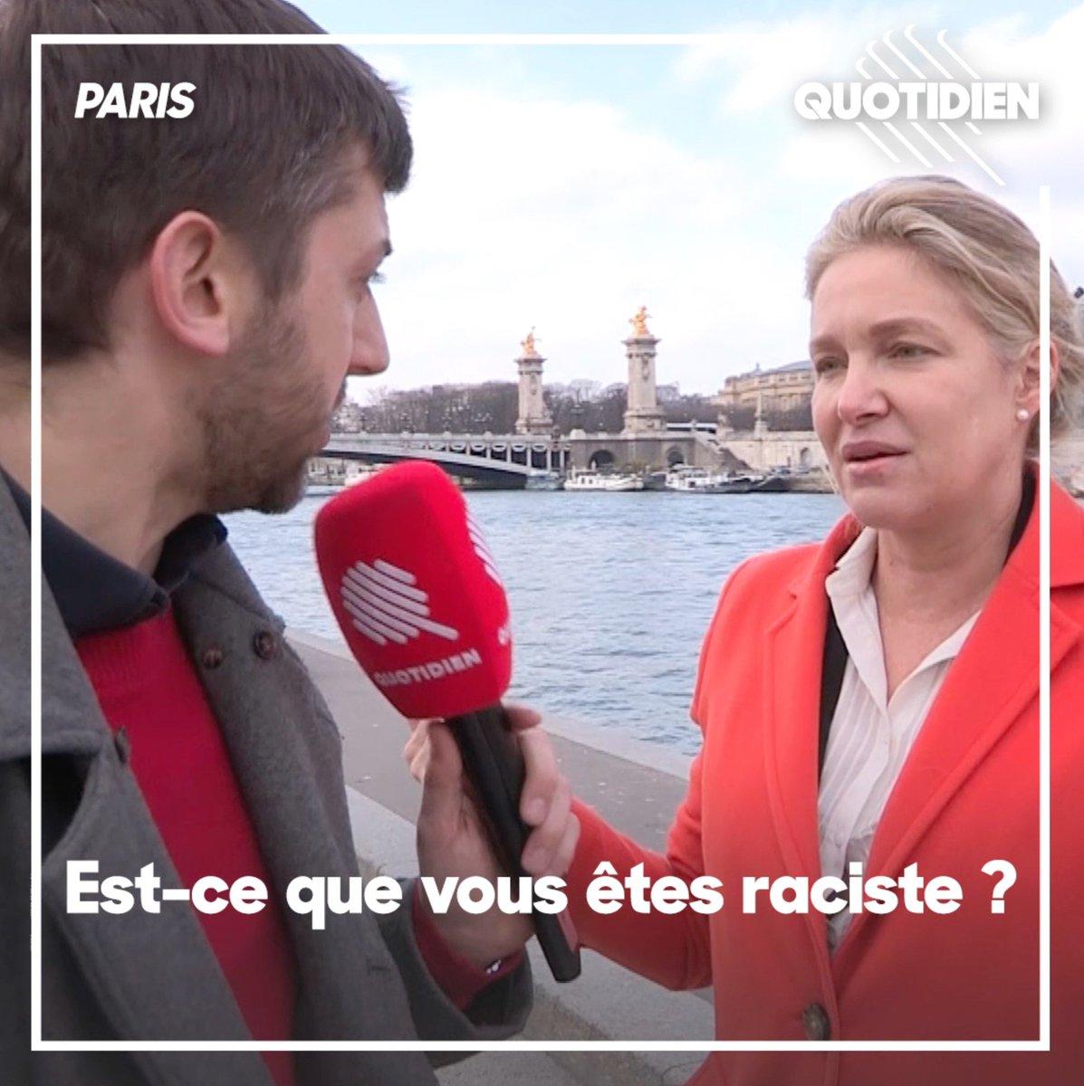 .@PaulLarrouturou a confronté Emmanuelle Gave, candidate aux élections européennes, à ses tweets jugés racistes. Voici sa réponse 👇 #Quotidien