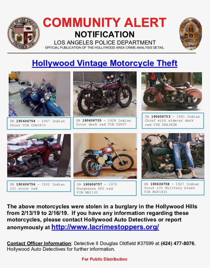 test Twitter Media - 🚨Attention #Hollywood #LA #California Community🚨   If you happen to come into contact with any of these #motorcycles, please contact us at the below listed number.    #IndianMorotcycles #Husqvarna https://t.co/WolKsThh9j