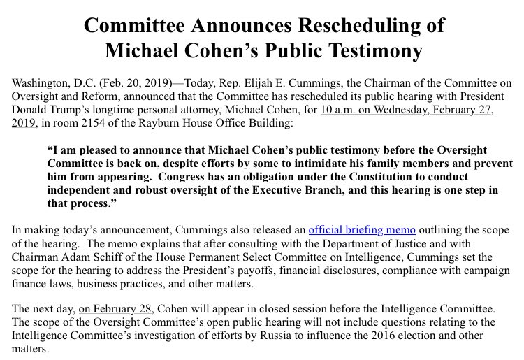 NEW: the House Oversight Committee just announced former Trump lawyer Michael Cohen will appear for a public hearing on Wednesday, Feb 27.