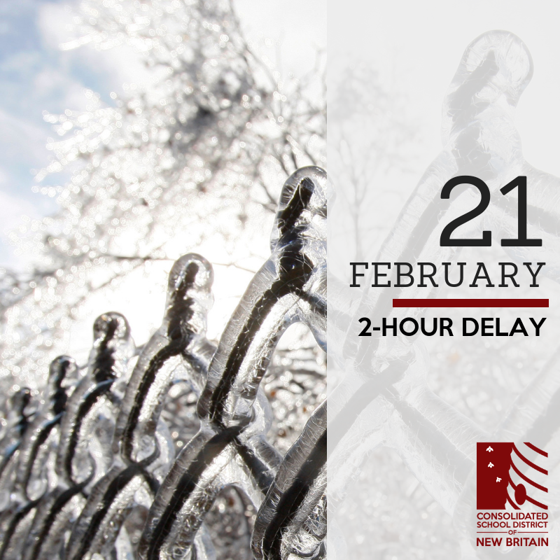 Due to inclement weather conditions that are in the forecast for tomorrow morning, we will be operating on a 2-hour delay on Thursday, February 21. There will be no AM Pre-Kindergarten.  All schools will open two hours after their regularly scheduled time. <br>http://pic.twitter.com/Xq9SNaZlMD