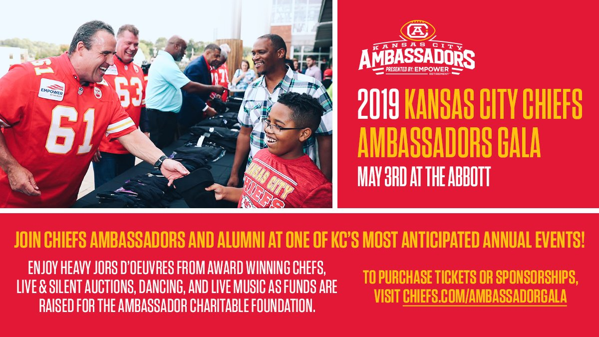 Join us at the 2019 Kansas City Ambassadors Gala! More Info 🎟 chiefs.com/ambassadorgala