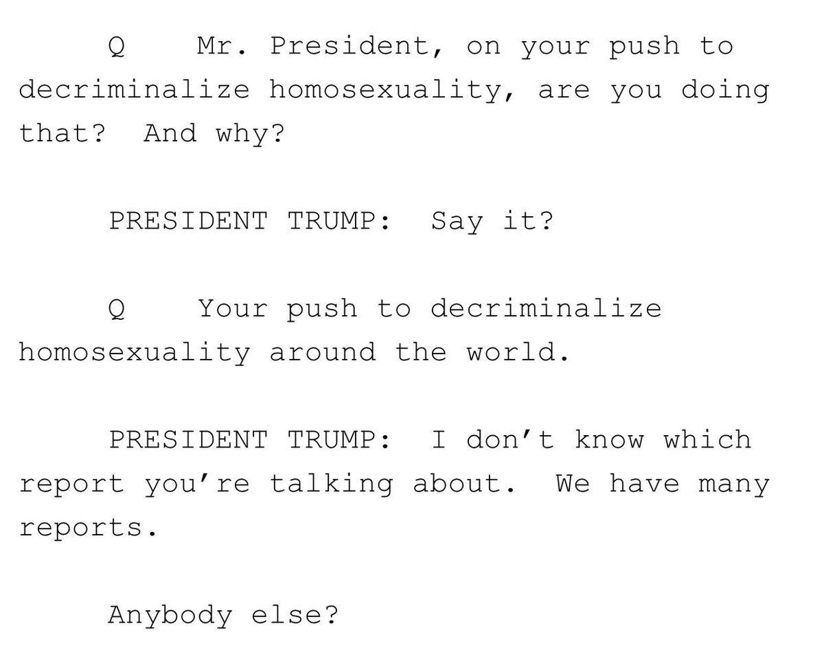 Trump has no idea about his administration's push to decriminalize homosexuality around the world, per WH transcript from today's pool spray: