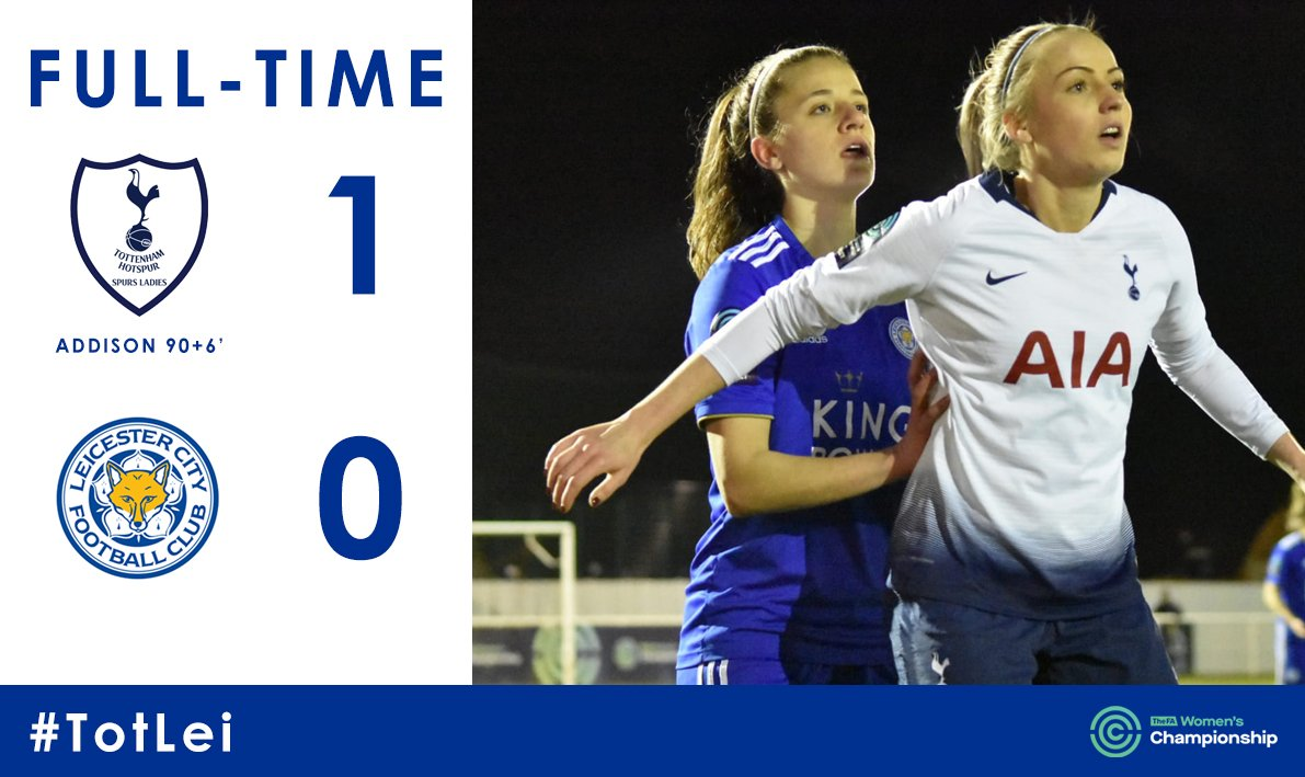 Full time. Heartbreak at the end for Leicester City having defended so well, Angela Addison's late late winner wins it for the league leaders.  #TotLei