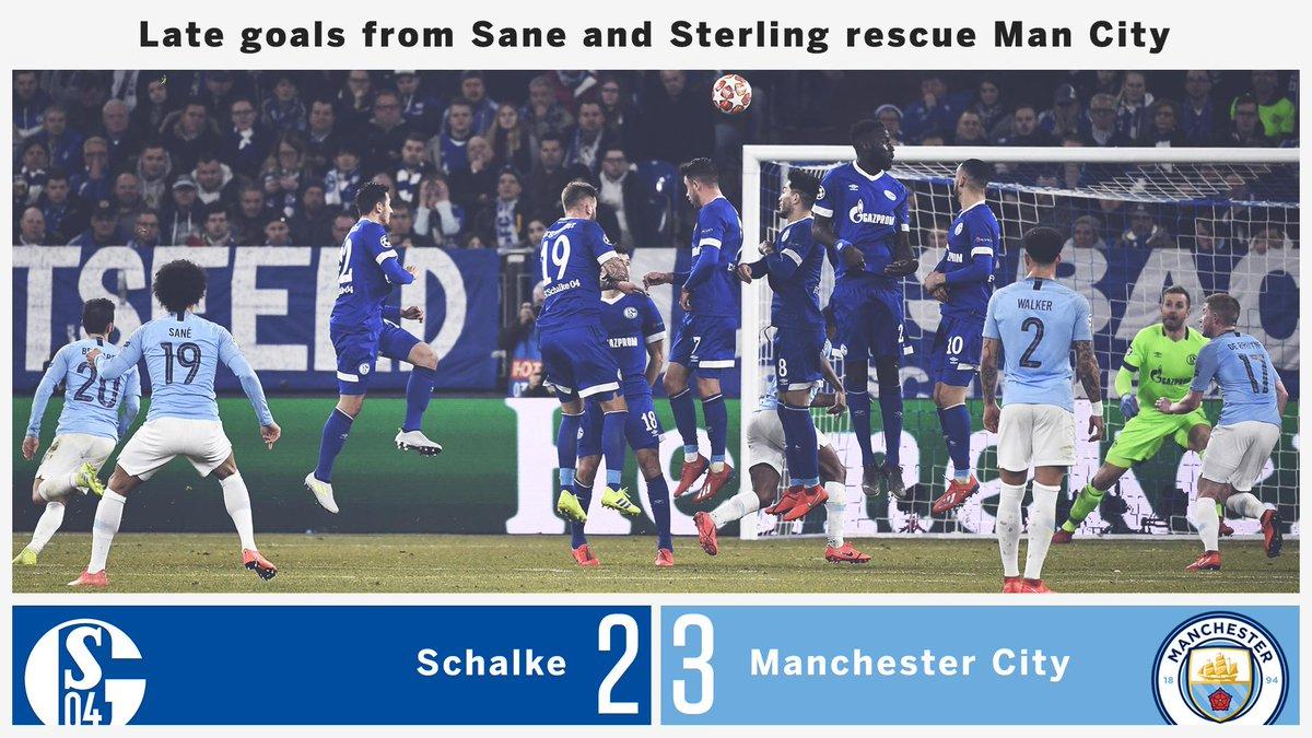85' Schalke 2-1 Man City FT: Schalke 2-3 Man City  That free-kick from @LeroySane19 👌